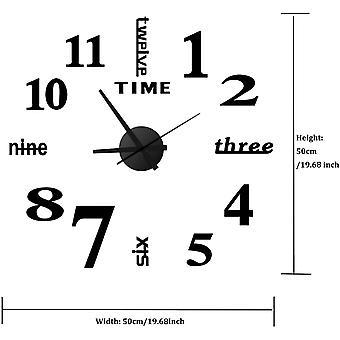 Reloj de pared de bricolaje de 14 pulgadas, 3d Frameless Wall Clock Mirror Sticker Silent And Non-ticking, Reloj redondo negro adecuado para sala de estar, dormitorio, oficina