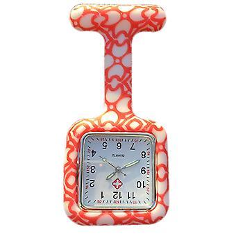 Boolavard® TM Nurses Fashion Coloured Patterned Silicon Rubber Fob Watches - Square Orange Hearts