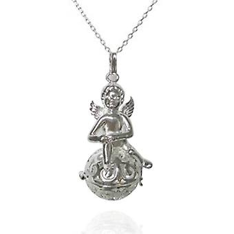 Mexican Bola Pendant Silver Fairy + Chime Ball