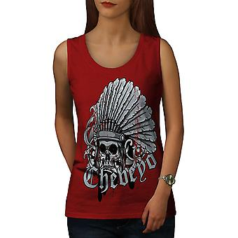 Death Skull Indian Chef Women RedTank Top | Wellcoda