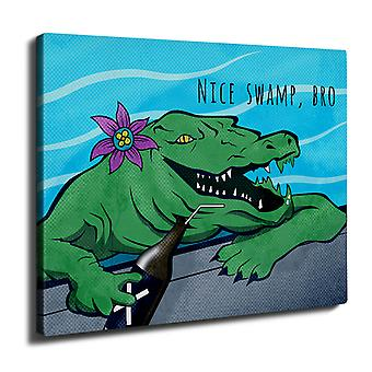 Crocodile Beer Cool Wall Art Canvas 40cm x 30cm | Wellcoda