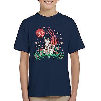 Okami Wolf Blossom Breeze Kid's T-Shirt