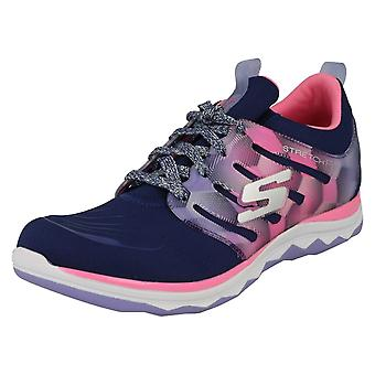 Dziewczyny na co dzień Skechers koronki do trenerów Diamond Runner 81560 - Navy/Hot Pink włókienniczych - UK rozmiar 13 - UE rozmiar 32 - USA rozmiar 14