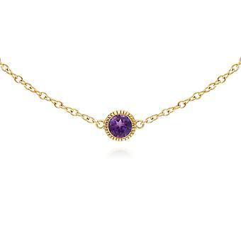 Classic Single Stone Round Amethyst Milgrain Bracelet in 9ct Yellow Gold 135L0288049