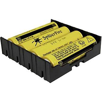 MPD BK-18650-PC8 Battery tray 4x 18650 Through-hole (L x W x H) 77.98 x 78.84 x 21.54 mm