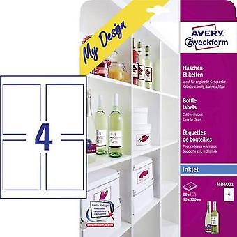 Avery-Zweckform MD4001 90 x 120 mm Paper White 20 pc(s) Permanent Bottle labels