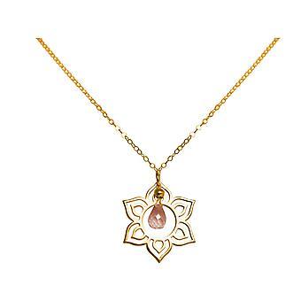 Collana da donna GEMSHINE in oro placcato argento YOGA fiore rosa