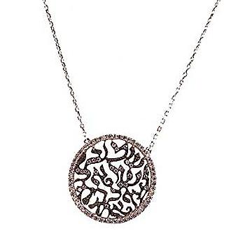 Lace pave disc ketting zilver