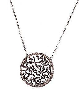 Lace pave disc necklace silver