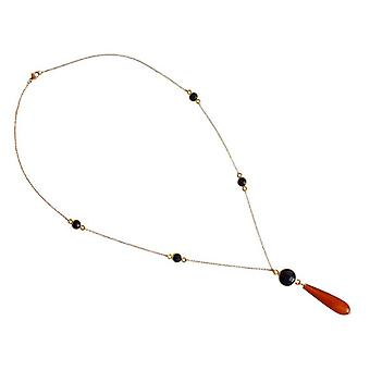 Gemstone necklace carnelian and Black Onyx gold plated gemstone necklace