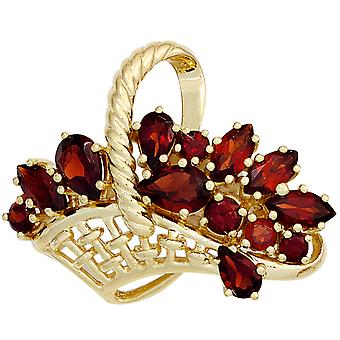 Brooch basket 333 gold 13 grenade Garnet brooch Garnet pin pendant-gold