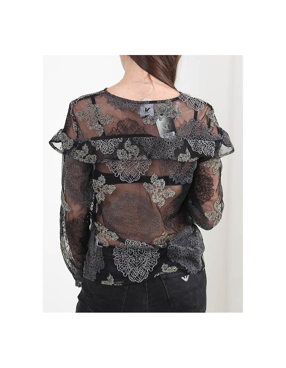 Nu Denmark Embroidered Lacey Ruffle Top