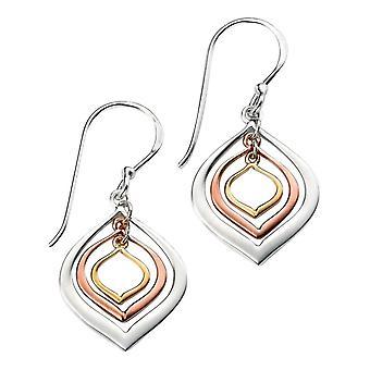 Éléments en forme de lanterne Triple argent Drop boucles d'oreilles - or or/argent/Rose