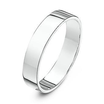 Star Wedding Rings 9ct White Gold Heavy Flat Shape 4mm Wedding Ring