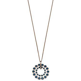 Delar Silver dubbel rad Swarovski hänge - Rose guld/blå