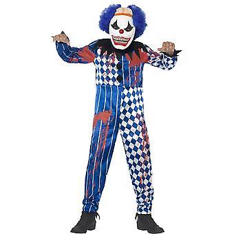 Deluxe olycksbådande Clown kostym, medellång ålder 7-9