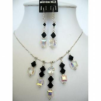 Swarovski Jet Crystals & AB Crystals Sterling Silver Necklace