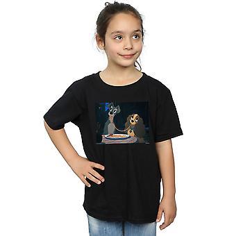 Chicas Disney la dama y el vagabundo Spaghetti chupar camiseta