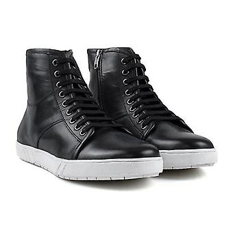 Mens black leather high top trainer