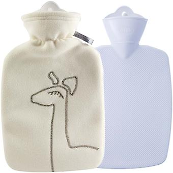 Hugo Frosch Classic Hot Water Bottle Double Fleece Cover Cream 1.8L
