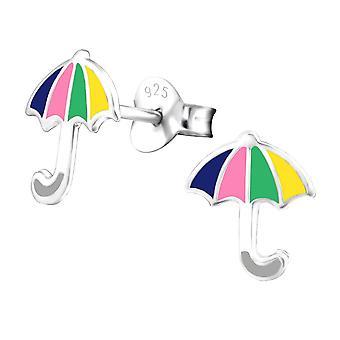 Children's Sterling Silver Rainbow Umbrella Stud Earrings