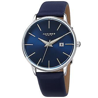 Akribos XXIV AKS191064SSBU orologio da uomo con cinturino in pelle di cristallo curvato