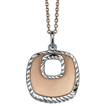 PENDANT WITH CHAIN SQUARE 925 SILVER AND ROSEPLATED