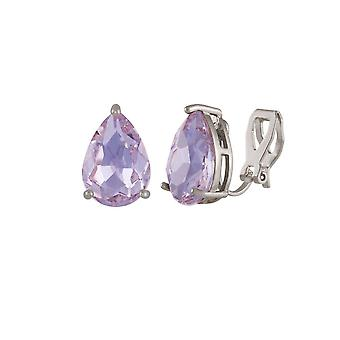 Eternal Collection Seduction Teardrop Purple Violet Crystal Silver Tone Stud Clip On Earrings