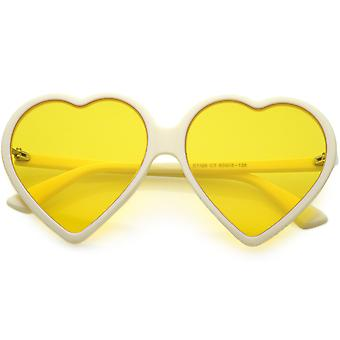 Women's Oversize Heart Sunglasses Color Tinted Neutral Colored Lens 60mm