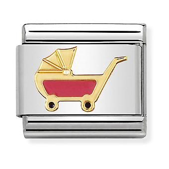 Nomination Classic Pink Pram Steel, Enamel and 18k Gold Link Charm 030208/49