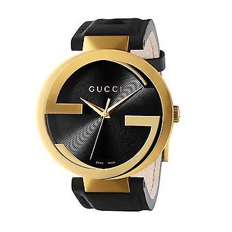 גוצ'י Ya133326 שלובים שחור חיוג רצועת עור גברים&s שעון