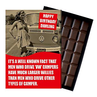 Birthday Gift Volkeswagon VW Camper Van Owner T1 T2 T3 boxed Chocolate Greeting Card CDL224