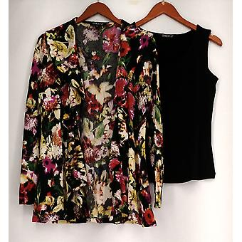 Gramercy 22 Top Floral Print Double Ruffle Cardigan & Solid Tank Black A424263