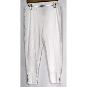 Slimming Options Leggings Crop Length w/ Side Zipper White Womens A417363