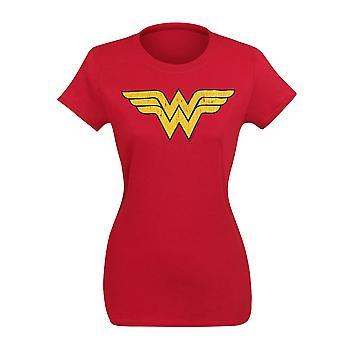 Wonder Woman verdrietig symbool T-shirt voor vrouwen
