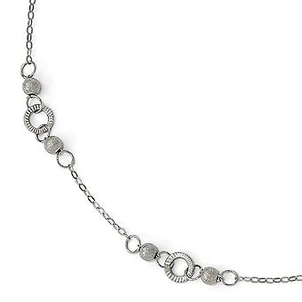 14k White Gold Polished and Laser Textured Anklet 9.5 Inch Jewelry Gifts for Women