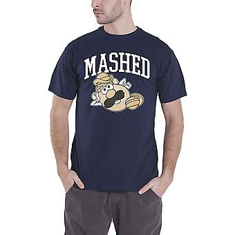 Mr Potato Head T Shirt Mens Mashed Vintage logo new Official Hasbro Blue