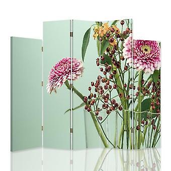 Divisor de habitación decorativa, 5 paneles, doble cara, 360o lienzo giratorio, Gerbera 2
