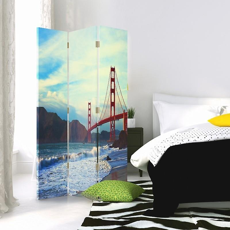 Diviseur de chambre, 3 panneaux, double-sided, toile, golden Gate Bridge