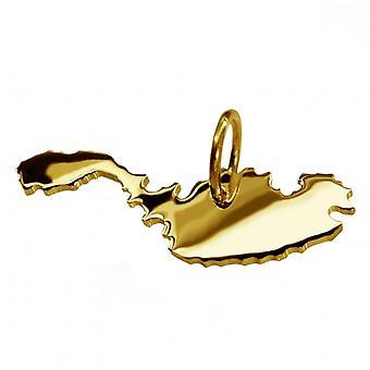 Pendentif de chaîne de carte en or jaune-or sous la forme de MALTA