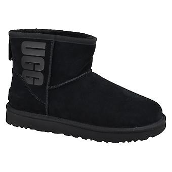 UGG Classic Mini UGG Rubber Logo 1108231-BLK Womens winter boots