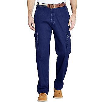 Pegasus Mens Denim Jeans Side Elasticated Cargo Pockets Combat Pants