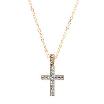 Dazzlingrock Collection 0.18 Carat (ctw) 14K Round Diamond Men's Hip Hop Cross Pendant (Gold Chain Included), Rose Gold
