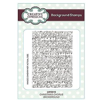 Creative Expressions Background Rubber Stamp - Christmas Chorus