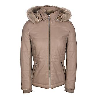 Pillar Hooded Leather Coat with Faux Fur Trim in Grey