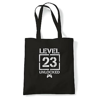 Level 23 Unlocked Video Game Birthday Tote | Age Related Year Birthday Novelty Gift Present | Reusable Shopping Cotton Canvas Long Handled Natural Shopper Eco-Friendly Fashion