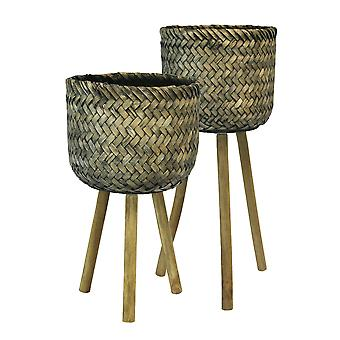 Basket Shape Bamboo Planters on Flared Wooden Stand, Rustic Brown, Set Of Two