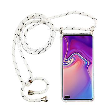 Phone Chain for Samsung Galaxy S10 Plus - Smartphone Necklace Case with Band - Cord with Case to Hang in White