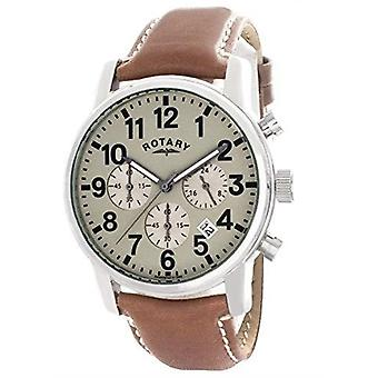 Rotary Silver Stainless Steel Case Brown Leather Strap Mens GS00430/31 41mm