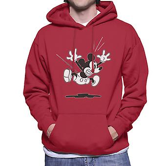 Disney Mickey Mouse Alarmed Jump Black And White Men's Hooded Sweatshirt